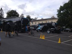 Sky team cars and bus