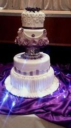 Purple Flowers wedding cake with Crystal ball