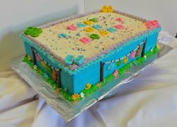 Reveal baby shower sheet cake.