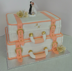 Two tier suitcase wedding cake