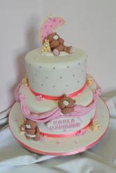 Teddy bears and bunnies baptism cake.