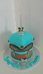 Brown& turquoise pillow cake