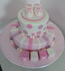 Girls Baptism Two Tier Cake