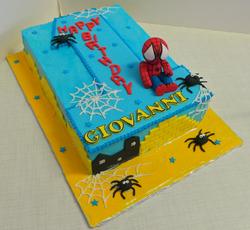 Spiderman themed sheet cake