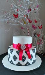 Two tier damask wedding cake