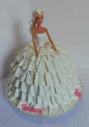 Barbie doll wedding themed birthday cake