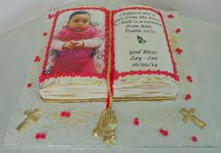 Girls bible baptism cake
