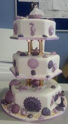 3Tier purple seashell wedding cake
