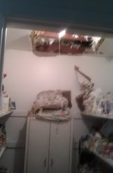 collapsed ceiling in pantry
