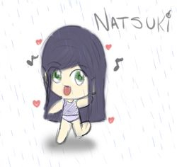 Natsuki in the rain by ~Patino-kun