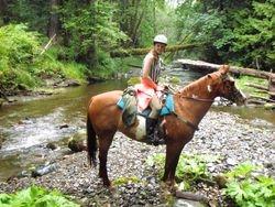 Chloe in French Creek, heading back