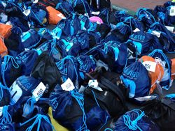The THOUSANDS of bags from runners.