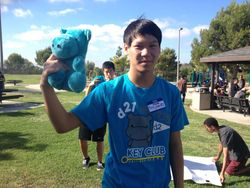 Division 21's Member of the Month, Ben Phan with Henry the Hippo!