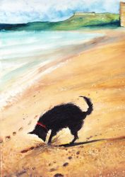 """Dig Dog  Detail   Water Colour  14 x 12"""""""