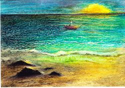 "Home Alone Lou    Oil pastel 12 x 9"""
