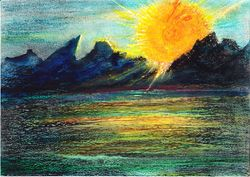 """Rise and Shine    Oil Pastel    12 x 9"""""""