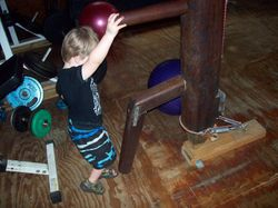 Practicing on the wooden dummy