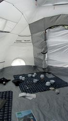 Inside the Shelter Box tent