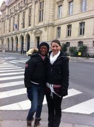 Catherine & Esmeralda outside the Sorbonne (the old university of Paris)