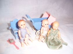 Dolls, pram and chair