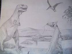 Dinosaurs at a lake