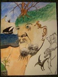 Face mountain illustration