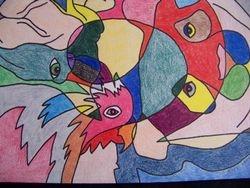 Bird, panda, and camel abstract