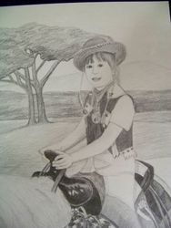 My daughter riding a horse.