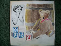 Bear with barrel and blocks and Shirley Temple photo