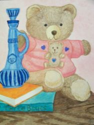 Bear with books and bottle