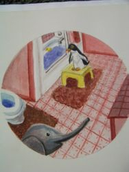 Penguin and elephant in the bathroom