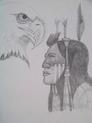 Indian and eagle portrait