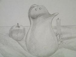 Pitcher with apple and candle