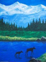Moose crossing lake