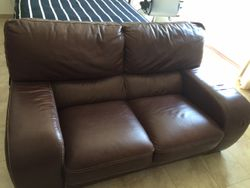 FOR SALE : 2 Brown leather sofas