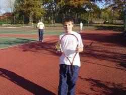 Owen Daniel showing his winners trophy