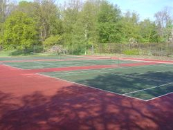 View from inside the tennis courts