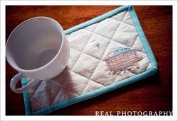 a nativity mug rug