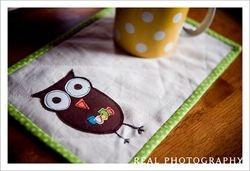 Owl Mug Rug--front