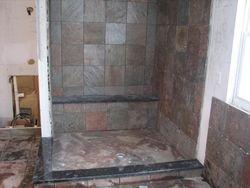 Walk-in shower,  all slate