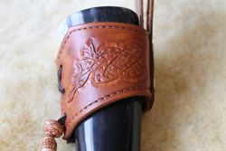 Dragon carved drinking horn carrier