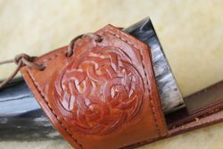 Celtic knotwork on drinking horn