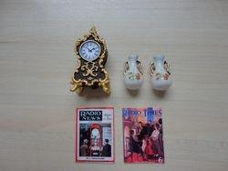 Clock, vases and 1930s radio magazines