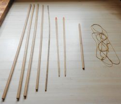 Various dowel rods and the curtain cord