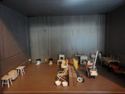 Nursery toilet and cleaners cubby/maintenance workshop.