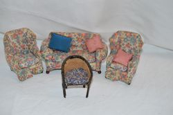 Three-piece suite and Bergère chair