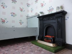 The bedroom fireplace