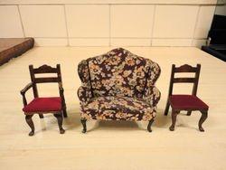 Dijon chairs flanking a Tri-ang Queen Anne sofa