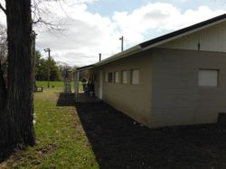 Back side of the Clubhouse with the new gutters