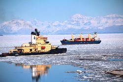 Ice breaker and resupply ship arriving